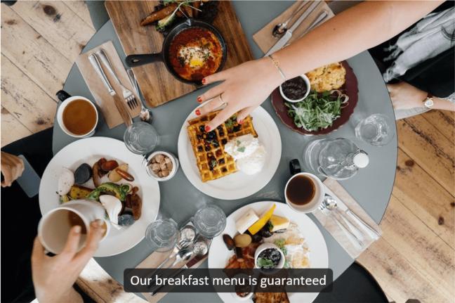 Universal Captions example - Breakfast menu