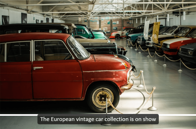 Universal Captions example - Vintage cars