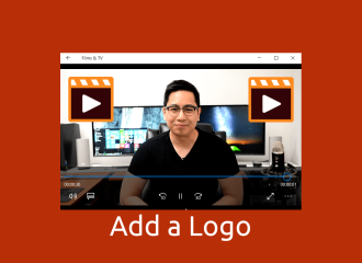 Add A Logo, shows screen shot of a video with a logo in the corner