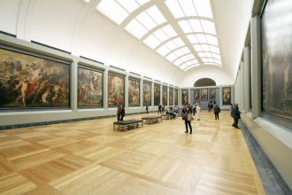 Art gallery with classic paintings hanging on the walls