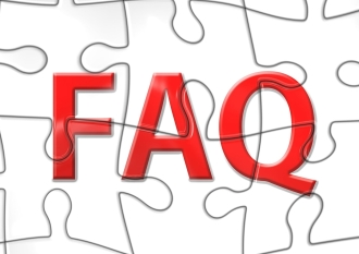 Frequently asked questions FAQ written in red over a white jigsaw puzzle