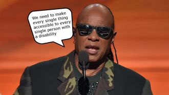 "Stevie Wonder at 2016 Grammys, saying ""We need to make every single thing accessible to every single person with a disability"""
