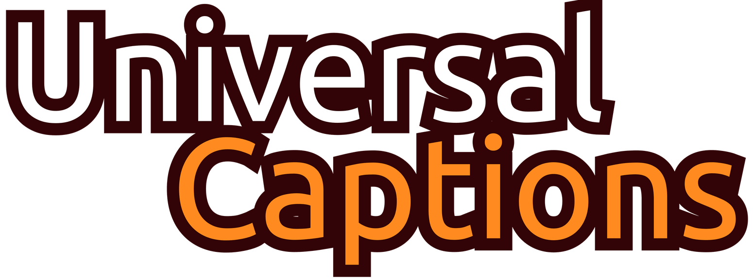 Universal Captions Logo, using a play button and words UNIVERSAL CAPTIONS